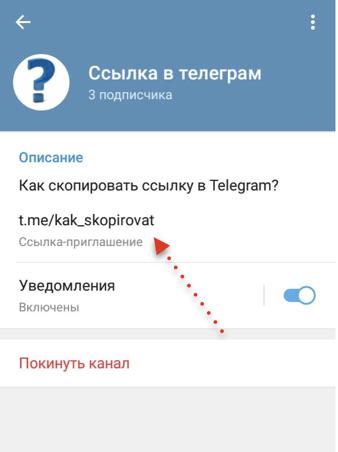 ссылка на канал в телеграм в меню канала